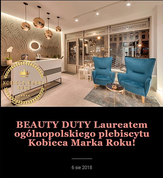 Beauty Duty Laureatem ogólnopolskiego plebiscytu Kobieca Marka Roku!