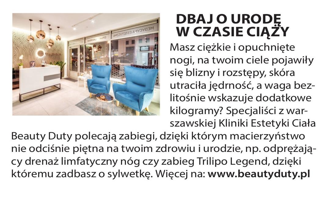 Czasopismo M jak Mama nr 6 czerwiec 2016 - treść artykułu o klinice urody Beauty Duty