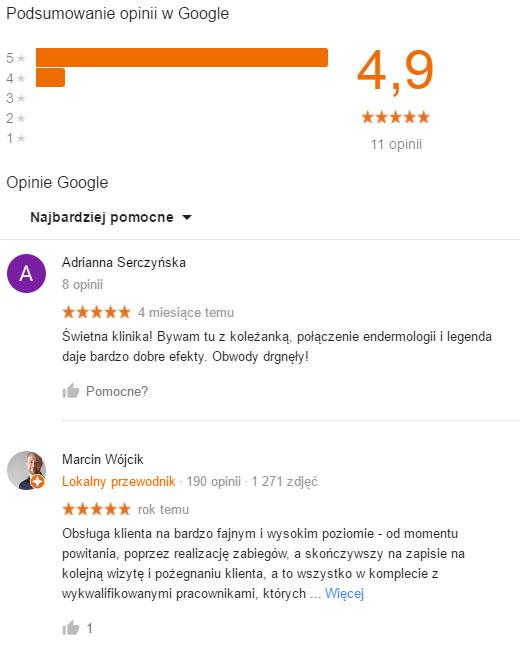 Opinie z Google