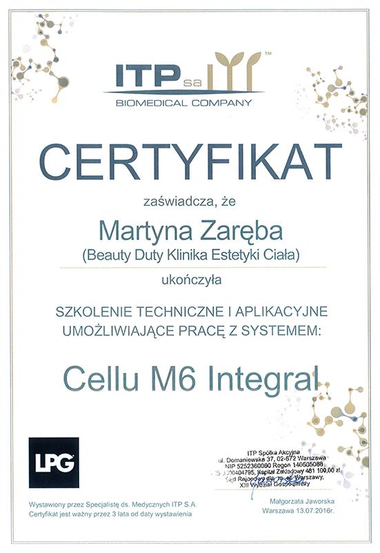 Martyna Zaręba - certyfikat Cellu M6 Integral