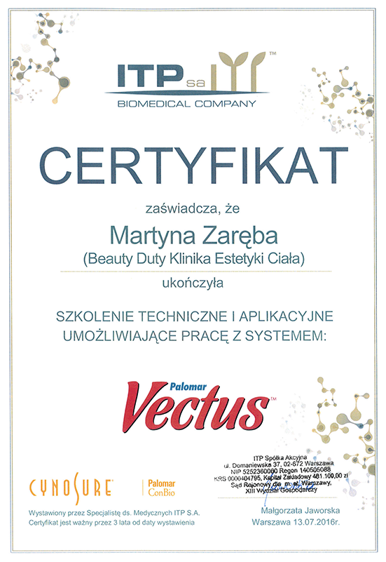 Martyna Zaręba - certyfikat Vectus