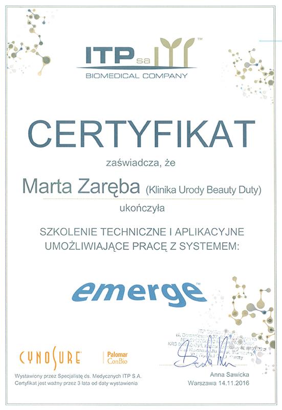 Marta Zaręba - certyfikat Emerge