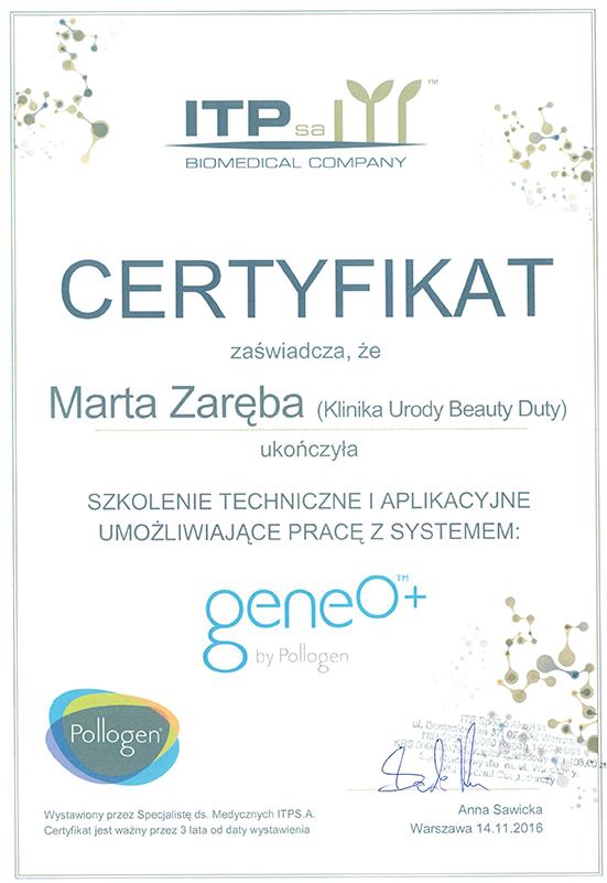 Marta Zaręba - certyfikat Geneo