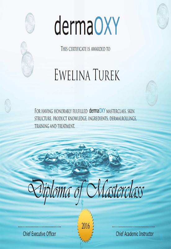 Ewelina Turek - certyfikat dermaOXY