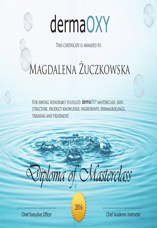Magdalena Żuczkowska - certyfikat dermaOXY