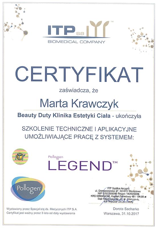Certyfikat - Marta Krawczyk- Legend