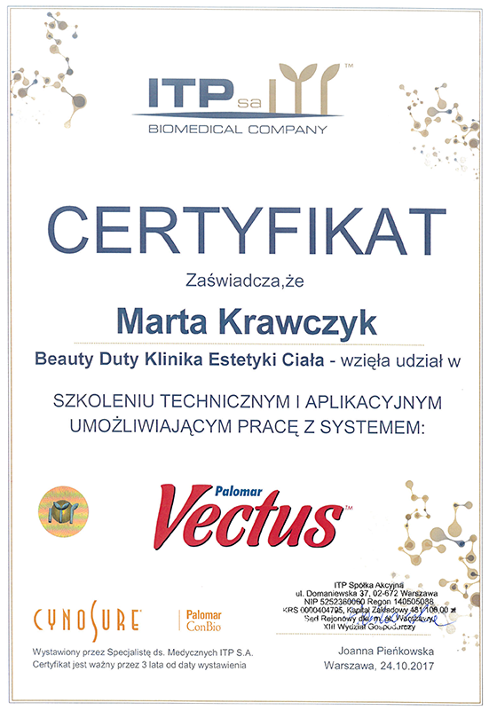 Certyfikat - Marta Krawczyk- Vectus