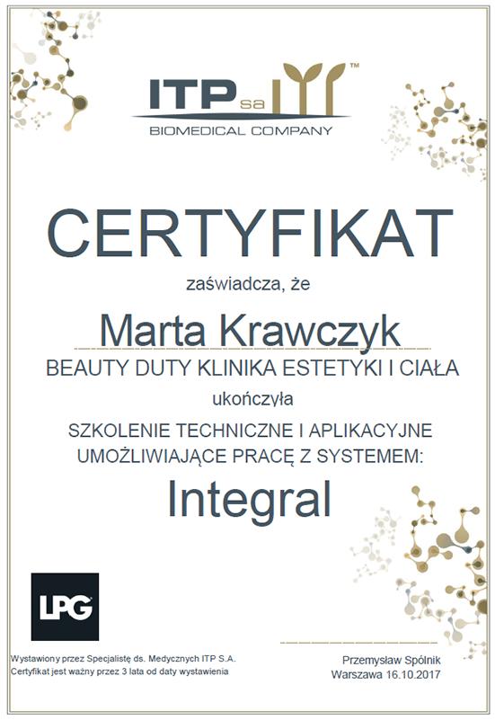 Marta Krawczyk - certyfikat Integral