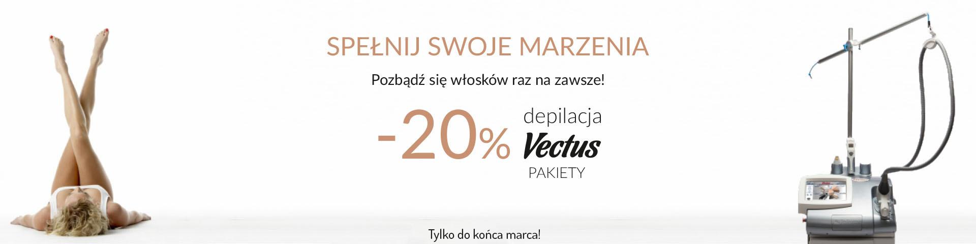 Promocja na zabiegi depilacji laserowej Vectus - 20%