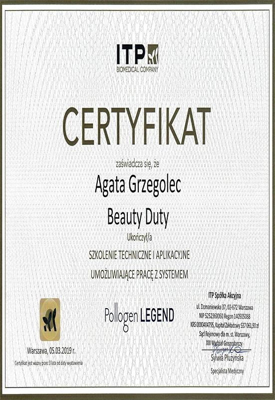 Certyfikat - A. Grzegolec - Legend
