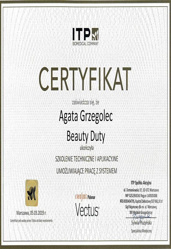 Certyfikat - A. Grzegolec - Vectus
