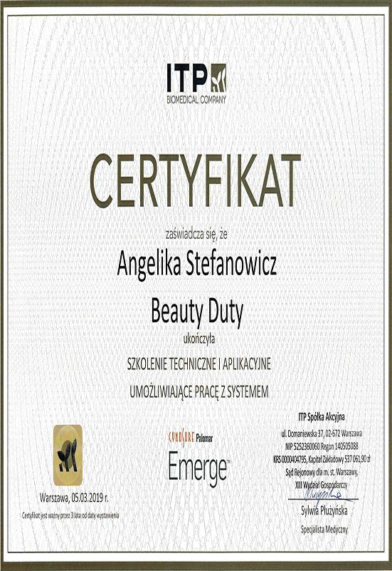 Certyfikat - A. Stefanowicz - Emerge