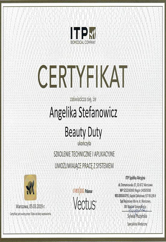 Certyfikat - A. Stefanowicz - Vectus