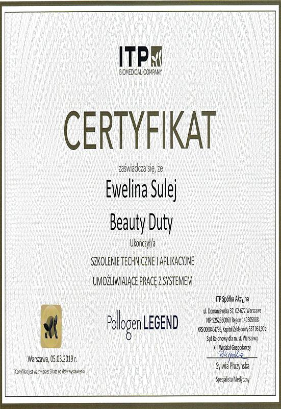 Certyfikat - E. Sulej - Legend