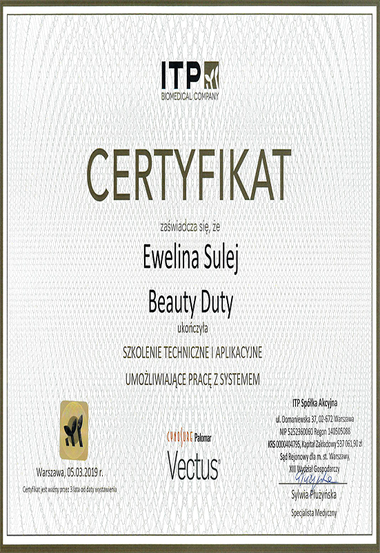 Certyfikat - E. Sulej - Vectus